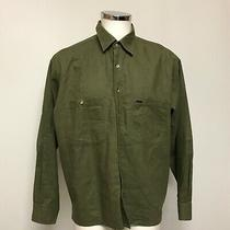 Timberland Shirt Size M Collar Long Sleeve Button Up Green Cotton Casual 462392 Photo