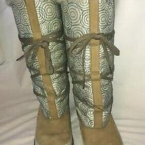 Timberland Turquoise and White Tall Fabric and Suede Snow Boot Photo