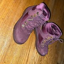 Timberland Velvet 1 / 32.5eu Plum Padded Collar Gold Eyelets Hiking Boots Shoes Photo