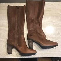Timberland Women Leather Boots Size 8 M Brown Knee High Photo