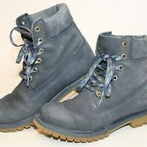 Timberland Womens 7.5 M Premium Blue Leather Lace Up Booties Work Boots 7650003 Photo