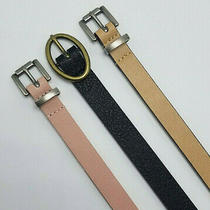 Time and Tru Women's 3 Belts Blush/black/tan All Sizes Photo