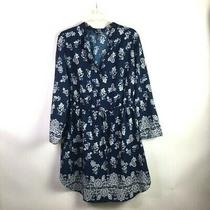 Time to Bloom Women's Dress 2x Navy Floral Paisley Knee Length Casual  B1 Photo