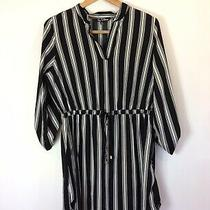 Time to Bloom Womens Black White Striped Long Sleeve Flare Dress Large Tie Waist Photo