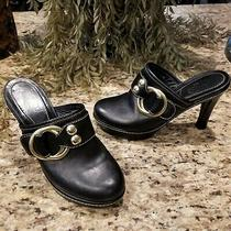 Timeless Coach Claude Boucle Black Leather Gold Ring Buckle & Studs Mules Us 7 Photo