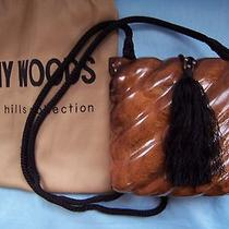Timmy Woods Acacia Wood Purse Auburn Color Shoulder Cord Handcrafted High Shine Photo