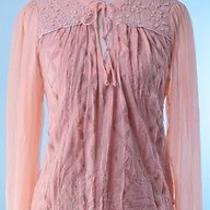 Tiny 148 Nwt Blush Pink Silver Long Sleeve Embroidered Tie Tunic Top Size M Photo