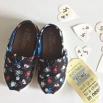 Tiny Toms Black Robot Print Canvas Slip-on Shoes Toddlers Kids Infant Size 5 Photo