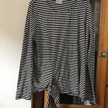 Tla for Anthropologie Blue Stripe Long Sleeve Tie Front Top (C4) Photo