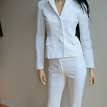 To Die for Elie Tahari White Pinstripe Pant Suit Size 2 Photo