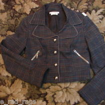 To the Max Cropped Fitted Plaid Aqua Threads Jacket Military Style M Photo