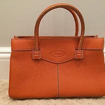 Tod's Authentic Mocassino Small Tote Bag in Orange Calf-Skin Pebble Leather Photo