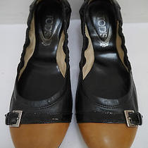Tods Black and Tan Leather Ballet Flats Shoes Italian Size 39.5  Photo
