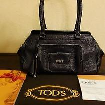 Tod's Black Pebbled Black Satchel Bag Photo