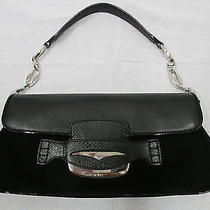 Tod's Black Suede & Leather Baguette With Silver Link Chain and Silver Closure Photo
