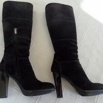 Tod's Black Suede Tall Boots Size 38.5  8 1/2 Us Photo