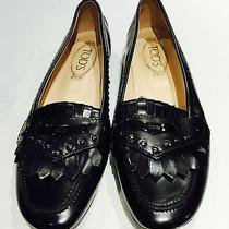 Tod's Black Women's Leather Loafers Flats Size 8.5 Shoes Photo