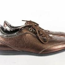 Tod's Bronze Metallic Leather Women's Square Toe Lace Up Sneakers Size 10 Photo