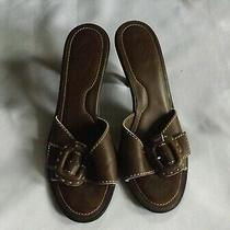 Tod's Brown Leather Open Toe Mule Sandals Size 8  Photo