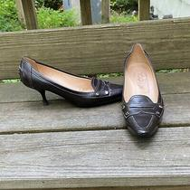 Tod's Brown Leather Penny Loafer Kitten Heel Pumps Size 8 Photo