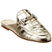 Tod's Double T Croc-Embossed Metallic Leather Mule Women's Gold 38 Photo