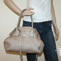 Tod's Genuine Metallic Leather Shoulder Bag in Silver  Photo
