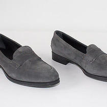 Tod's  Gray Nubuck Suede Rubber Sole Penny Loafer Flats Sz 40 Chic Photo