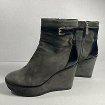 Tod's Gray Suede Buckle Detail Wedge Boots Size 38.5 Photo