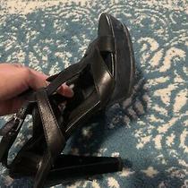 Tod's High-Heel Platform Sandal Black Leather Size 38 Photo