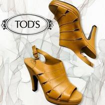 Tods Leather High Heel Slingback Mule Sandals Euc Light Cognac Camel Eu 39  Photo