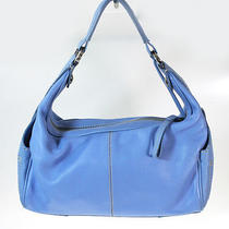 Tod's Light Blue Leather Small Hobo Purse Bag Photo