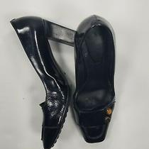 Tod's Loafer Heels Square Toe Pumps Sz 7 Black Leather  Womens Photo