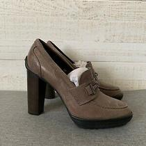 Tod's Nwob 450 Womens Pumps Heels Shoes Leather Taupe Size 38 Us 8 Photo