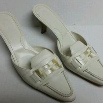 Tod's Off White Leather Mules Size 8.5 Photo