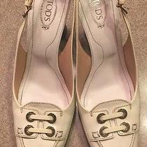 Tod's Patent Leather Slingbacks 37.5 Off White Photo