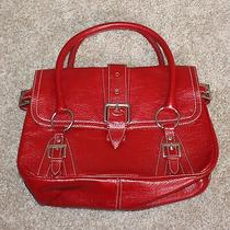 Tod's Red Pebble Leather Purse Handbag Baguette Medium Tods Buckle Tote Satchel Photo