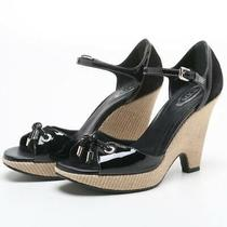 Tod's Sandals Black Patent Leather Suede Open Toe Ankle Strap Wedge Shoes 8 1/2 Photo