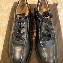 Tod's Shoes Sneakers Polished Black Leather Beige Stitched Lace Up Mens 9.5 Photo