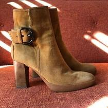 Tods Suede Statement Buckle Stacked Block Heel Ankle Boots Size 9 Photo