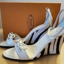 Tod's Zeppa Wedge Sandals Size 10- Zebra Print Calf Skin &off White Leathernew Photo