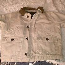 Toddler Boy's Gap Barn Coat Jacket Xxs (2/3/4) Beige W/ Brown Leather Collar Euc Photo
