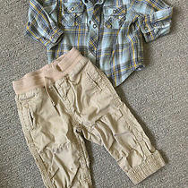 Toddler Boys Outfit 12-18 Months Baby Gap Old Navy Pants Joggers Flannel Shirt Photo