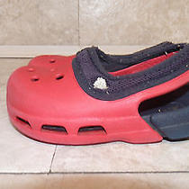 Toddler Boys Red & Navy Blue Crocs With Mesh Elastic Band  Size 6 7 Photo