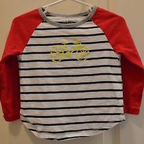 Toddler Girl's Baby Gap Deep Pink Navy/white Striped Bicycle Shirt Sz 18-24m Photo