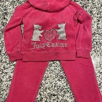 Toddler Girl Size 3t Juicy Couture Pink Velour Track Suit With Dog Logo Photo
