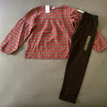 Toddler Girl Size 5t Baby Gap Red Plaid Long Sleeve Holiday Top & Black Leggings Photo