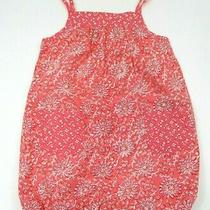 Toddler Girls Baby Gap Coral Pink Floral Pocket Bubble Outfit Size 12-18 Months Photo