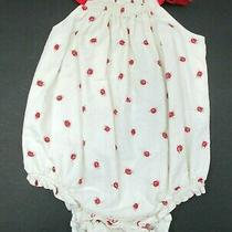 Toddler Girls Baby Gap Ivory & Red Ladybug Bubble Outfit Size 12-18 Months Photo