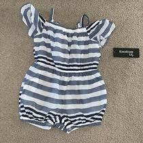 Toddler Girls Bebe Baby Blue White Romper Sz 24 Months Nwt Photo