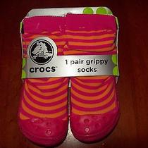 Toddler Girls Crocs Grippy Socks Shoe Size 4-6 Photo